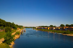 Blue River near the Countryside. Shoot with canon 5d iii in Italy Stock Photos