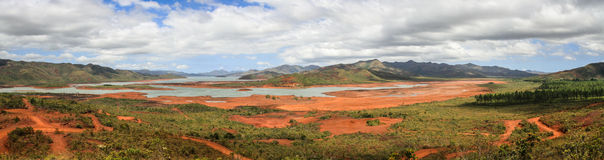 Panorama on the Blue River Provincial Park, South Province,Grande Terre, New Caledonia. The Blue River Provincial Park is part of the larger 15,900ha Upper Yat royalty free stock photo