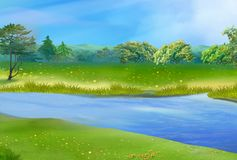 Blue River on a Sunny Summer Day. Digital Painting Background, Illustration in cartoon style character stock illustration