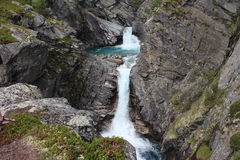 Blue river and two waterfalls in Norway. Stock Image