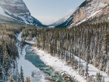 Blue river in a winter mountains