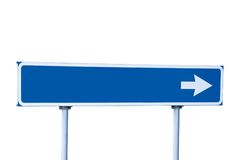 Blue Road Arrow Sign Guide Post Isolated Stock Image
