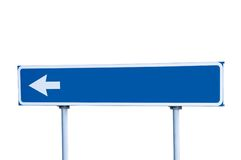 Blue Road Arrow Sign Isolated Guide Post Stock Image