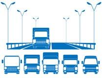 Blue road and set of trucks vector illustration