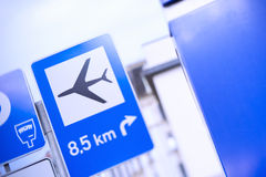 The blue road signs with the sign of the aircraft Stock Photos