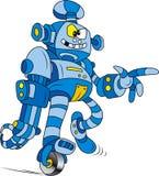 Blue robot. Vector illustration of Crazy blue brass robot character stock illustration