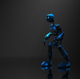 Blue robot character. 3d render of robot in dim lighting Royalty Free Stock Image