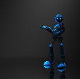 Blue robot character. 3d render of robot in dim lighting Royalty Free Stock Photos
