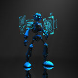 Blue robot character. 3d render of robot in dim lighting Royalty Free Stock Images