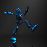 Blue robot character. 3d render of robot in dim lighting Stock Photography