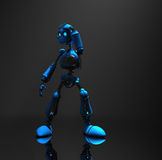 Blue robot character. 3d render of robot in dim lighting Stock Images
