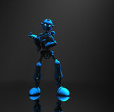 Blue robot character. 3d render of robot in dim lighting Royalty Free Stock Photo