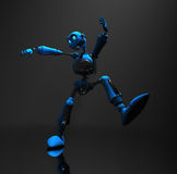 Blue robot character. 3d render of robot in dim lighting Royalty Free Stock Photography