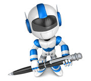 Blue robot Character ballpoint pen a handwriting. Create 3D Huma Stock Photography