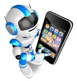 Blue Robot Character Big smartphone a touch. Create 3D Humanoid Royalty Free Stock Photography
