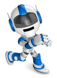 Blue Robot Character and a boxing play Stock Images