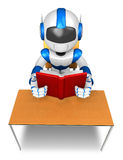 Blue robot character from the desk reading a book. Create 3D Hum Stock Image