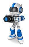 Blue robot character the front to shoot the camera toward Stock Photos