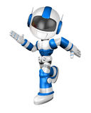 Blue robot character is going to front Running Stock Photos