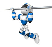 Blue Robot character is hanging in horizontal bar. Create 3D Hum Stock Images