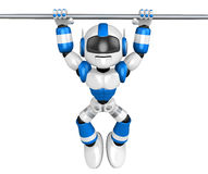 Blue robot character is hanging in horizontal bar. Create 3D Hum Royalty Free Stock Photos