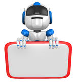 Blue robot Character is holding a blackboard with both hands. Cr Royalty Free Stock Photos