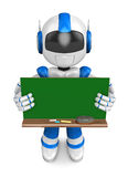Blue robot Character is holding a blackboard with both hands Royalty Free Stock Image