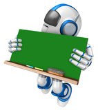 Blue robot character holding a blackboard Jumping. Create 3D Hum Royalty Free Stock Images