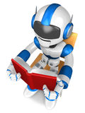 Blue robot character holding a briefcase is going to front Runni Royalty Free Stock Photo