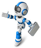 Blue robot character holding a briefcase left going to Running. Royalty Free Stock Photo
