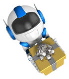 Blue robot character holding a gift with both hands. Create 3D H Royalty Free Stock Photos