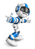 Blue robot character Pointing toward the front. Create 3D Humano Royalty Free Stock Image