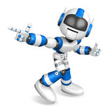 Blue robot character Pointing toward the front Stock Image