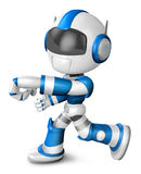 Blue robot character Punching to the left. Create 3D Humanoid Ro Royalty Free Stock Photos