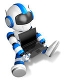 Blue Robot Character sitting on holding a laptop. Create 3D Huma Stock Image
