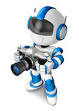 Blue robot character to shoot the camera toward the left. Create Stock Photography