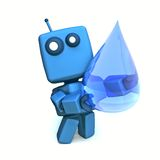 Blue robot and drop. 3D Blue Robot with Huge Transparent Water Drop stock illustration