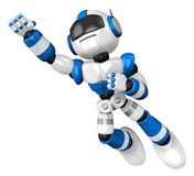Blue robot flying towards the sky Royalty Free Stock Photos