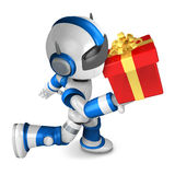 Blue robot holding a big gift running Stock Photography