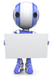 Blue robot holding blank sign Royalty Free Stock Photos
