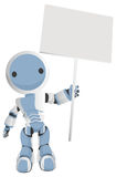 Blue Robot Holding Sign Above His Head Stock Photo