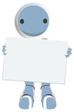 Blue Robot Holding Sign Like Giant Business Card Royalty Free Stock Images