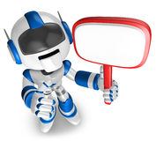 Blue Robot holding a signpost. 3D Robot Character Stock Photography