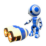 Blue Robot Inspecting Rocket Engines Stock Photography