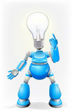 Blue robot light bulb head. Illustration of a blue robot character with a light bulb for a head Royalty Free Stock Photography