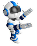 Blue robot mascot the direction of pointing with both hands Royalty Free Stock Photos