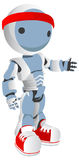 Blue Robot Runner with Red Shoes and Headband Royalty Free Stock Images