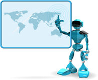 Blue Robot and Screen. Illustration of a blue robot on white background and screen Royalty Free Stock Photography