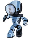 Blue robot searching stock illustration