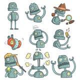 Blue Robot Set Of Cartoon Outlines Portraits Stock Photo